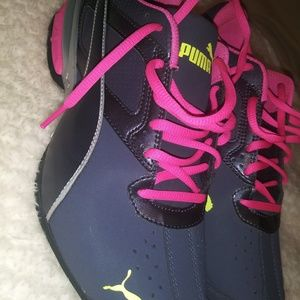 Pink and dark grey puma shoes